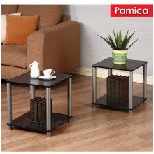 PAMICA RS5014 Set of 2 Flexipole No Tools Side Tables in Black Oak Finished