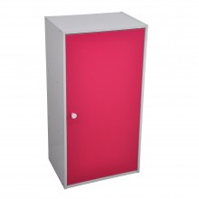 PAMICA SV6050 Candie 3 Compartment Shelf With Door in White And Colorful Back Ply (Pink Colour)