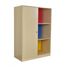 PAMICA WD1538 Oxford One Door Wardrobe with 3 Open Storage Shelf (Maple/Blue+Red+Yellow)