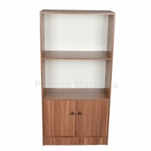 PAMICA SV6122-K Roman 6 Compartment Bookcase With Door and Storage Cabinet (Teak/Ivory)