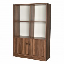 PAMICA SV6123 Roman 6-Compartment Bookcase With Door and Storage Cabinet (Teak/Ivory)