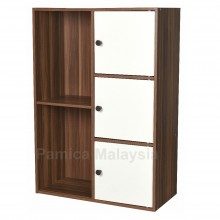 PAMICA SV6112 Roman 3 Door 5 Compartment Storage Shelf and Bookcase (Teak/Ivory)