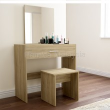 PAMICA DR7402-M Julia Dressing Table with Mirror and Stool (Sonoma Oak & White Colour)