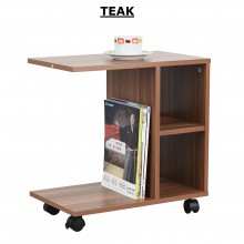 PAMICA ST2528-M Carson Mobile Side Table (Espresso, Teak, Walnut)