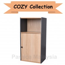 PAMICA SV6146 Cozy 3 Compartment Shelf with Door (Oak/Dark Grey)