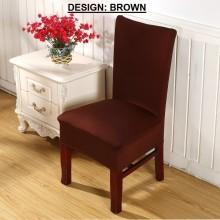 PAMICA IM-CVR-01 Set Of 2 Spandex Stretch Dining Chair Cover Protector Seat Slipcover (Brown)
