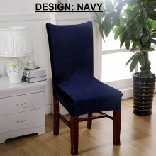 PAMICA IM-CVR-01 Set Of 2 Spandex Stretch Dining Chair Cover Protector Seat Slipcover (Navy)