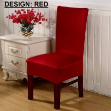 PAMICA IM-CVR-01 Set Of 2 Spandex Stretch Dining Chair Cover Protector Seat Slipcover (Red)