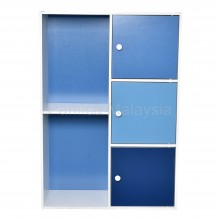 PAMICA SV6112 Daisy 3-Door 5 Compartment Storage Shelf and Bookcase in White Blue Tone