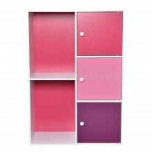 PAMICA SV6112 Daisy 3-Door 5 Compartment Storage Shelf and Bookcase in White Pink Tone
