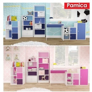 PAMICA SV6036-K Daisy 4-Compartment Book Shelf with Door in White and Colorful Back Ply